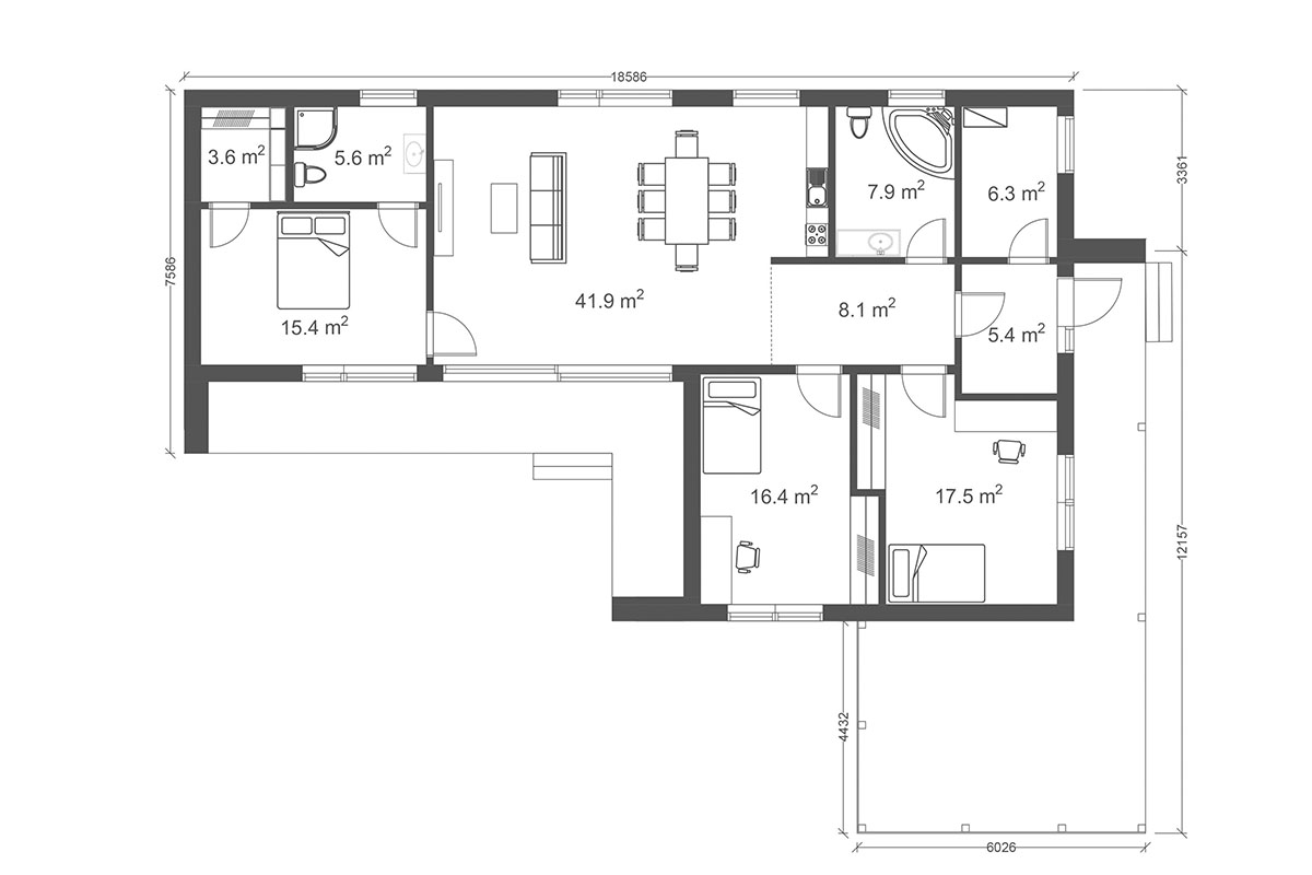 Prefabricated timber frame house design - X-128 floor plan